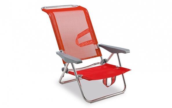Silla de playa de aluminio y reclinable