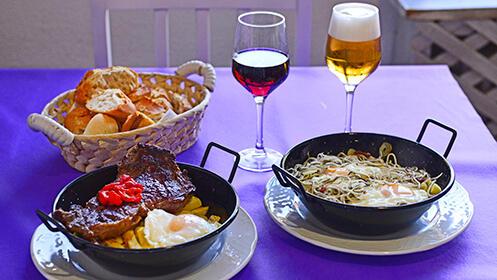 Sartenucas con postres y bebida para dos, en Restaurante LALOLA