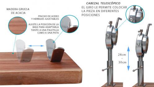 Jamonero Giratorio de madera de Acacia y acero inoxidable