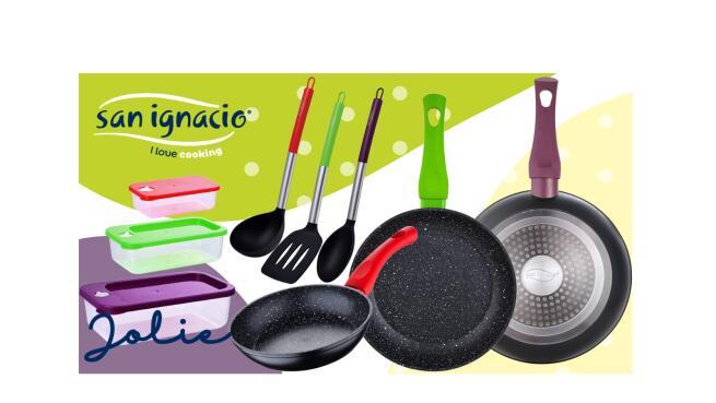 Set 3 sartenes antiadherentes + 3 tupper herméticos + 3 utensilios San Ignacio